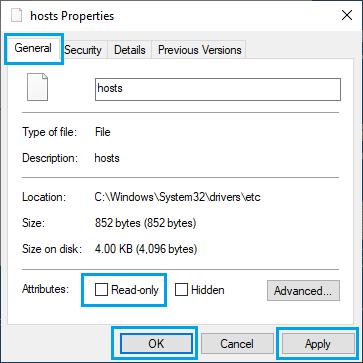 Hosts Properties Screen