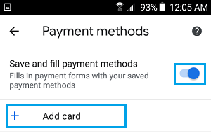 Add Credit Card to Android Phone