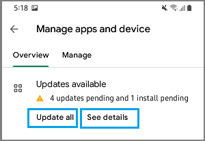 Manage Apps & Device Screen on Google Play Store