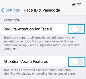 Disable Attention Aware Features on iPhone