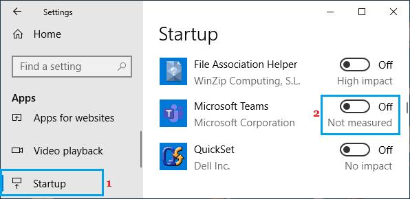Disable Microsoft Teams Auto Start