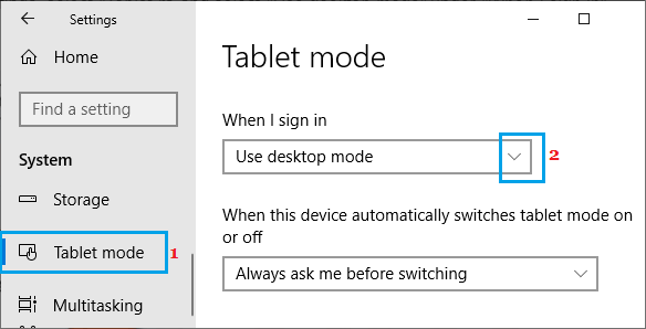 Disable Tablet Mode on Windows PC