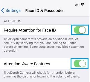 Enable Attention Aware Features on iPhone