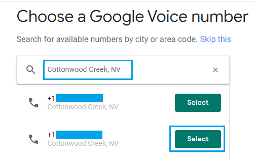 Select Google Voice Phone Number