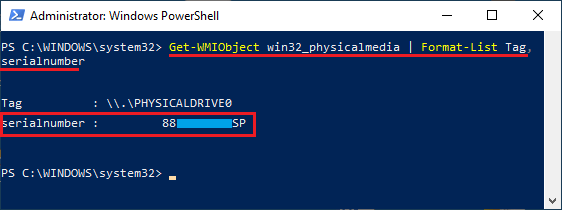 Find Hard Disk Serial Number Using PowerShell