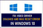 Fix: Video Driver Crashed and was Reset Error in Windows 10