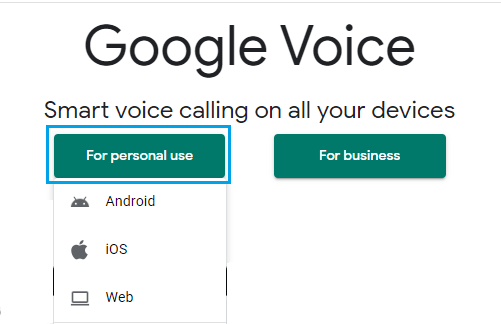 Select Google Voice For Personal Use