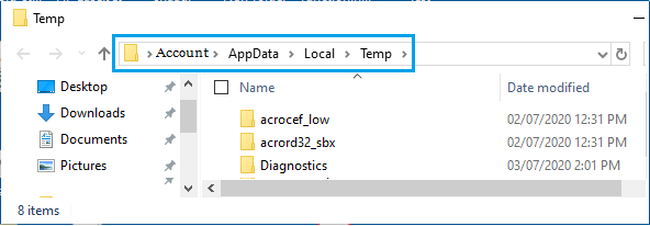 Files and Folders in Windows Temporary Folder