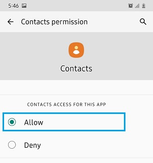 Allow Contacts App to Access Contacts on Android Phone