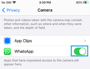 Allow WhatsApp to Access Camera on iPhone