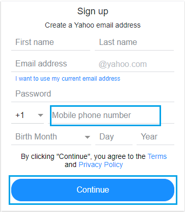 Create Yahoo Account Using Mobile Phone Number