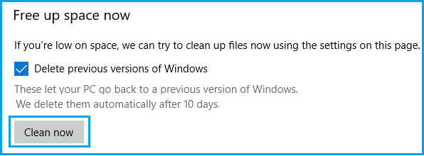 Delete Previous Versions of Windows Using Storage Sense
