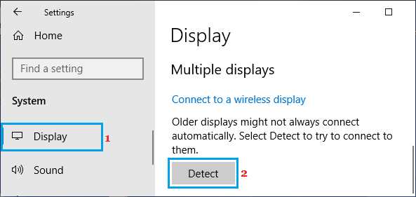 Force Detect Secondary Display
