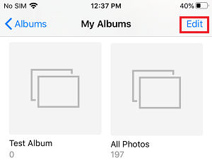 Edit Albums Option on iPhone