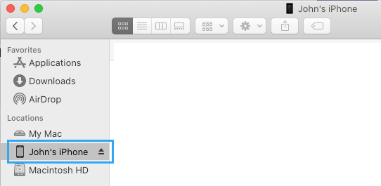 Select iPhone in Finder Menu on Mac
