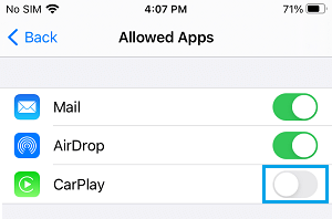 Disable CarPlay App on iPhone