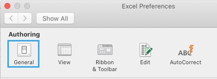 Open Excel General Preferences on Mac
