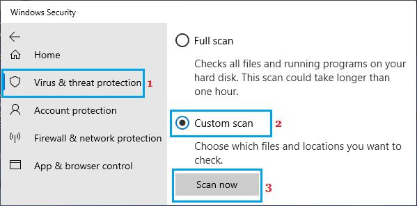 Microsoft Defender Custom Scan Option
