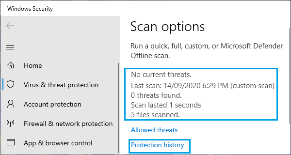 Results of Microsoft Defender Scan