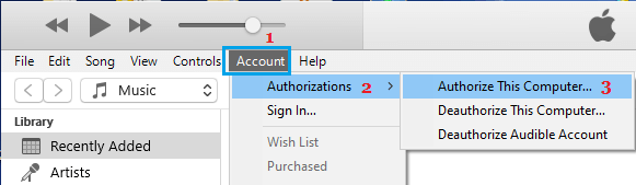 Authorize This Computer Option in iTunes