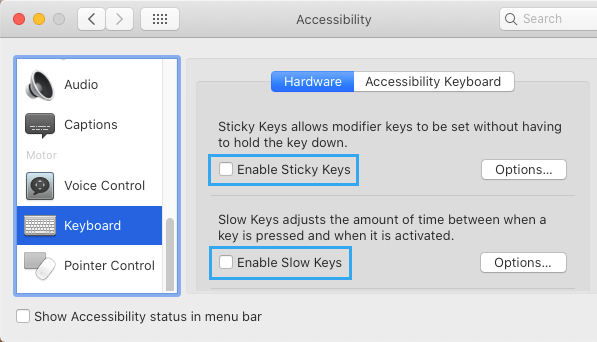 Disable Sticky And Slow Keys to Fix Laggy Keyboard on Mac