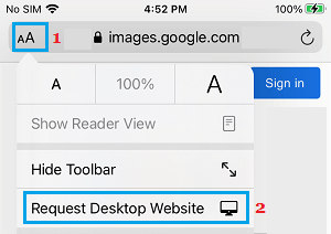 Request Desktop Version Option on iPhone Safari Browser