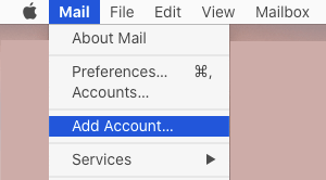 Add Account Option in Mail App on Mac