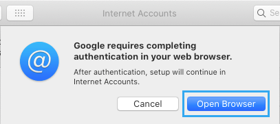 Open Browser to Allow Google to Authenticate in Browser