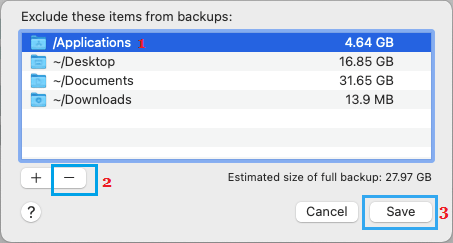 Remove Excluded Items from Time Machine Backup