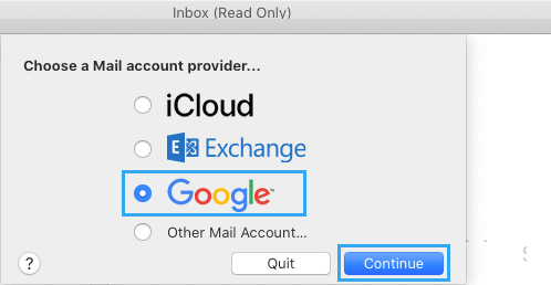 Select Email Account Provider on Mac