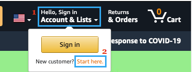 Account And Lists Option on Amazon