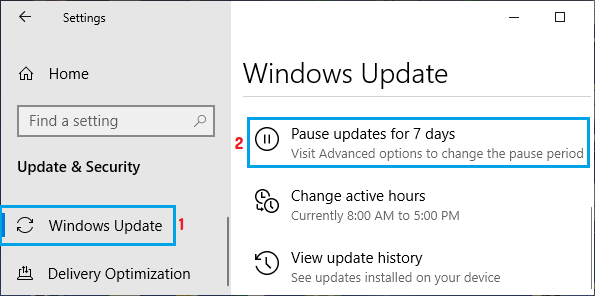Pause Windows Updates for 7 days