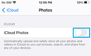 Turn OFF iCloud Photos on iPhone