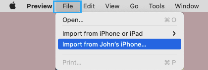 Import From iPhone Option in Preview App