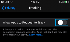 Prevent Apps from Tracking on iPhone