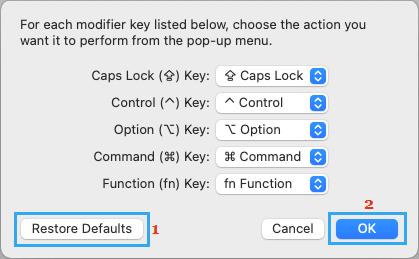 Restore Keyboard to Default Settings