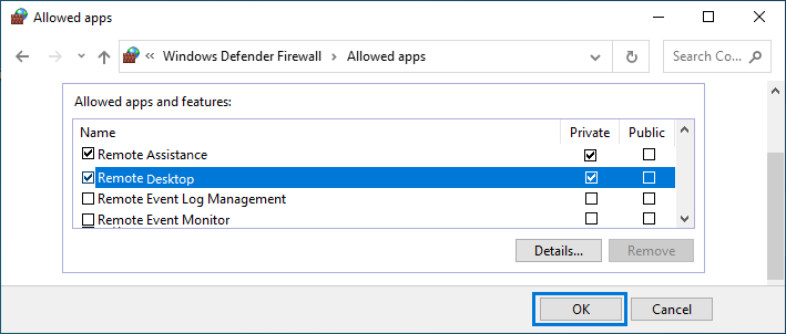 Allow Remote Desktop Through Windows Defender Firewall