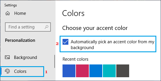 Automatically Pick an Accent color from my background option in Windows
