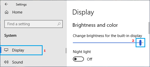 Change Screen Brightness using Settings
