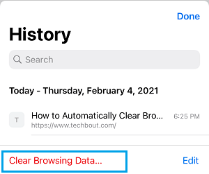 Clear Browsing Data Option in Chrome