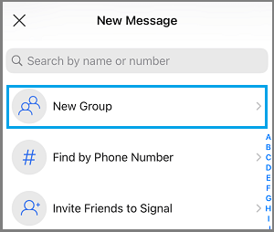 Create New Group Option in Signal