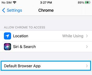 Default Browser App Settings Option on iPhone