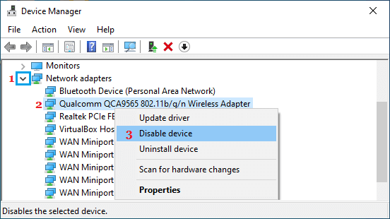 Disable Wireless Adapter