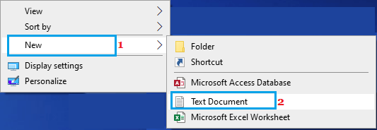 Open New Text Document