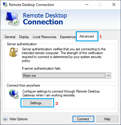 Open Remote Desktop Advanced Settings