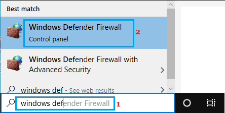 Open Windows Defender Firewall