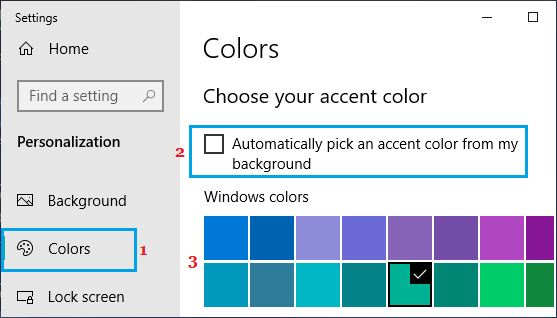 Select Accent Color Option in Windows