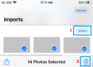 Select And Delete imported Photos from iPhone
