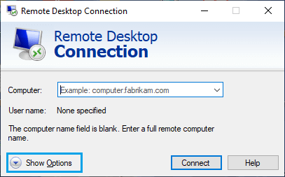 Open Remote Desktop Options