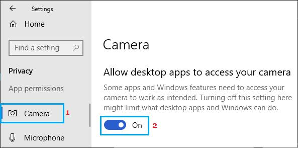 Allow Desktop Apps to access Camera